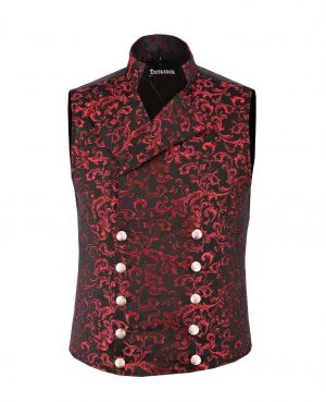 DARKROCK Men's Steampunk Double-breasted Waistcoat Red Vest GothicWestern-Reenactment (front)