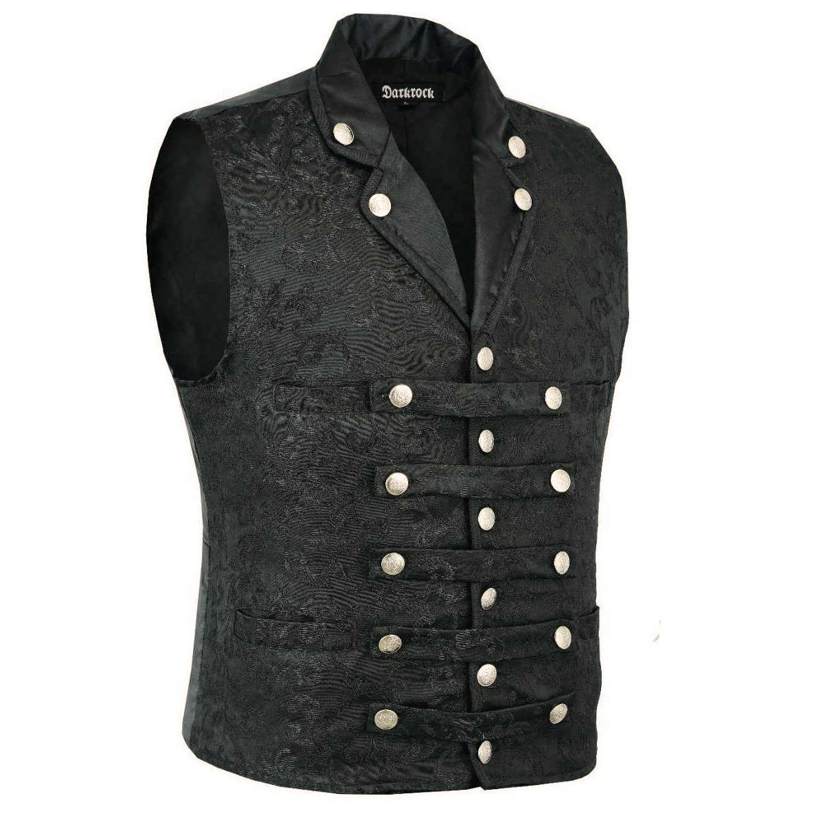 DARKROCK Men's Victorian Steampunk Captain Black Brocade Waistcoat (1)