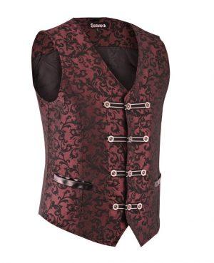 DARKROCK Premium Extreme Quality Mens Vest Waistcoat Red Damask (1)