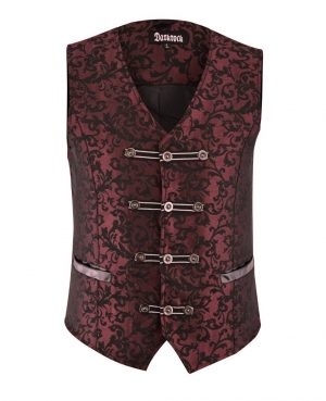 DARKROCK Premium Extreme Quality Mens Vest Waistcoat Red Damask (2)