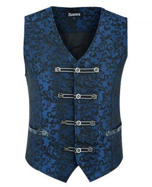 DARKROCK Premium Men's Vest Waistcoat Blue Damask Velvet (1)