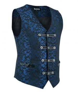 DARKROCK Premium Men's Vest Waistcoat Blue Damask Velvet (3)