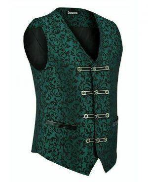 DARKROCK Premium Men's Vest Waistcoat Green Damask Velvet (1)