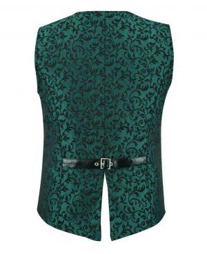 DARKROCK Premium Men's Vest Waistcoat Green Damask Velvet (2)