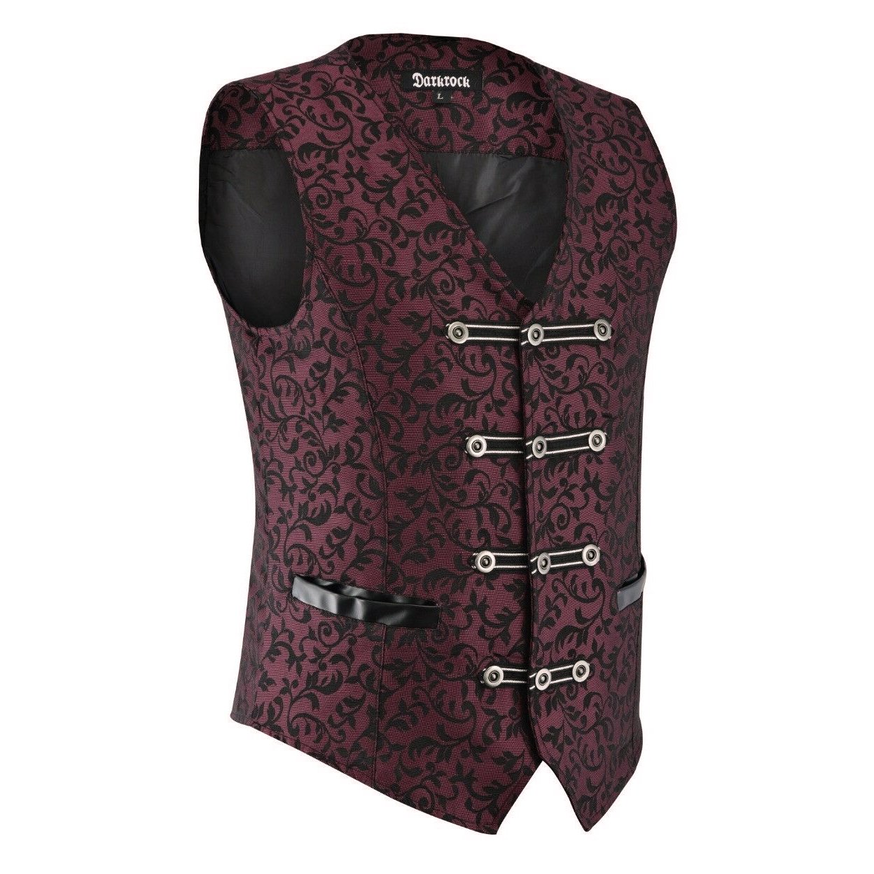 DARKROCK Premium Mens Vest Waistcoat Maroon Damask Velvet (1)