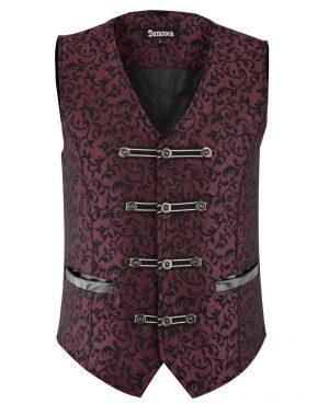 DARKROCK Premium Mens Vest Waistcoat Maroon Damask Velvet (2)