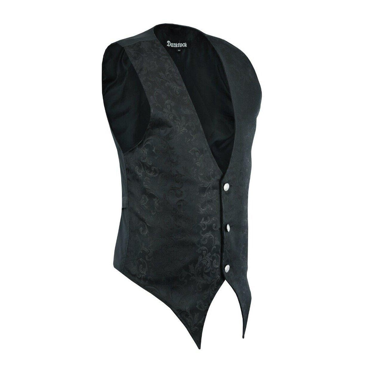 DARKROCK Victorian Single Breasted Brocade Vest Regency Waistcoat (2)