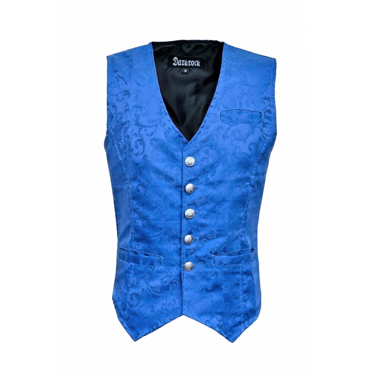 DARKROCK Waistcoat Gothic Steampunk Royal Blue Vest(Front)
