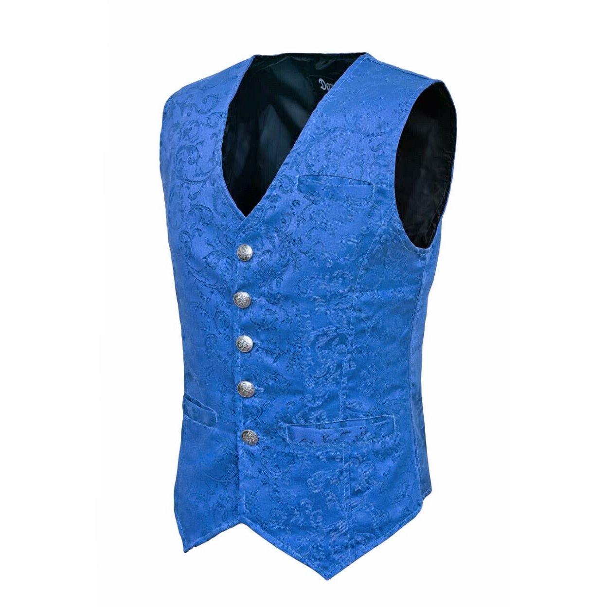 DARKROCK Waistcoat Gothic Steampunk Royal Blue Vest(side)