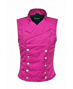 Men's Steampunk Double-breasted Waistcoat Purple Vest Gothic - DARKROCK (front)