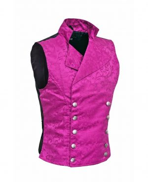Men's Steampunk Double-breasted Waistcoat Purple Vest Gothic - DARKROCK (side)