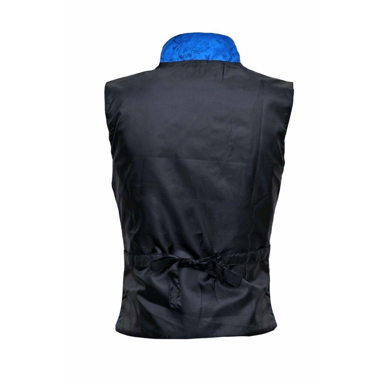 Men's Steampunk Double-breasted Waistcoat Royal Blue Vest Gothic - DARKROCK (back)