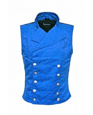 Men's Steampunk Double-breasted Waistcoat Royal Blue Vest Gothic - DARKROCK (front)