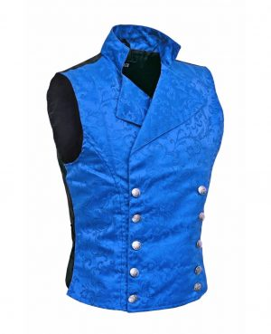 Men's Steampunk Double-breasted Waistcoat Royal Blue Vest Gothic - DARKROCK (side)