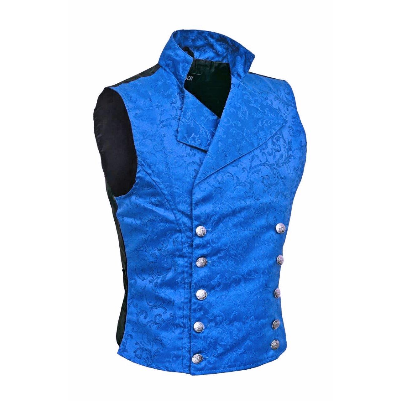Men's Steampunk Double-breasted Waistcoat Royal Blue Vest Gothic - DARKROCK (side)