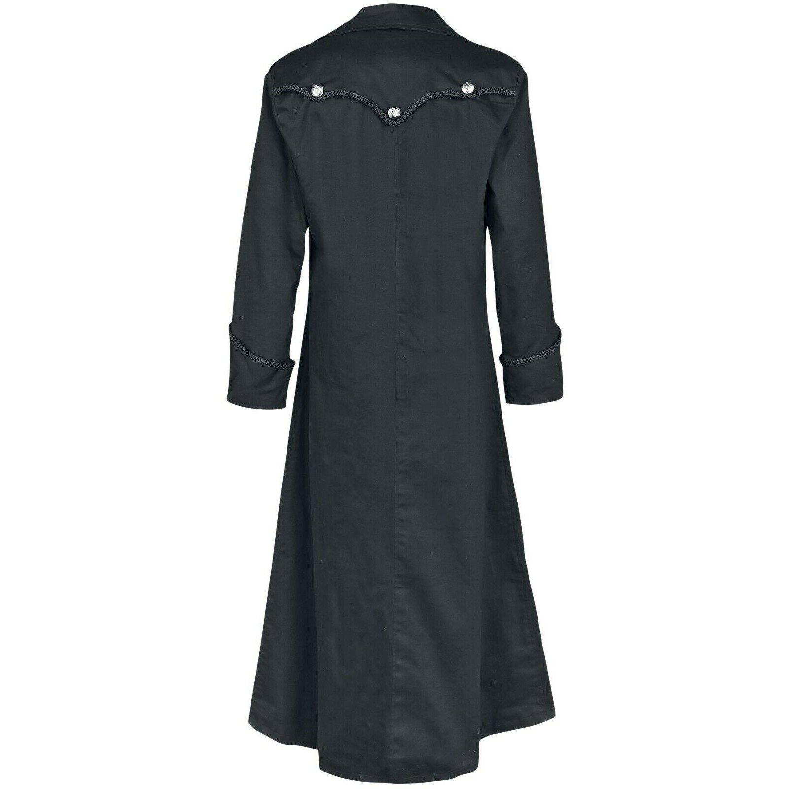 DARKROCK Gothic Steampunk Army Black Jacket Men's Punk Highwayman Regency Long Coat (1)