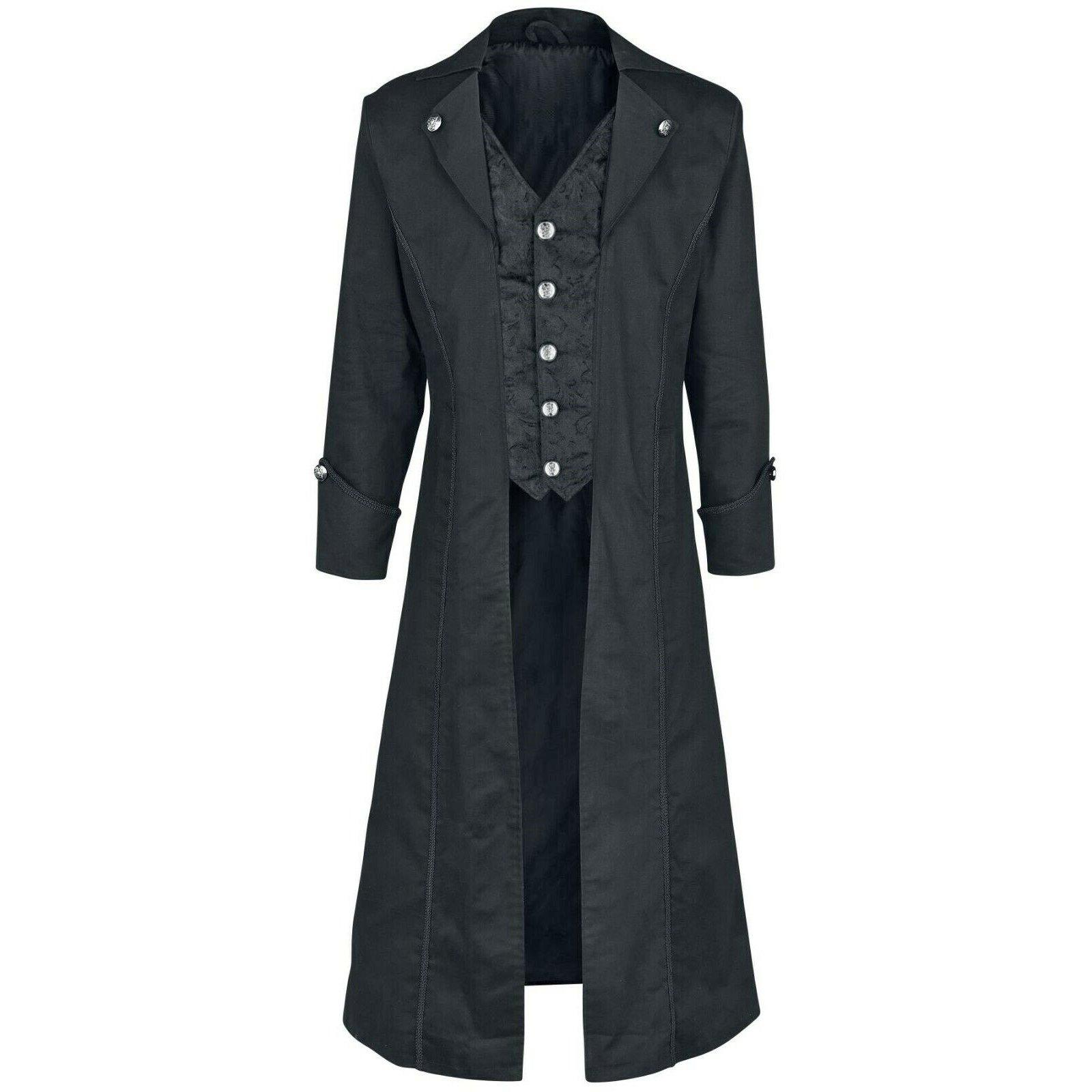 DARKROCK Gothic Steampunk Army Black Jacket Men's Punk Highwayman Regency Long Coat (4)
