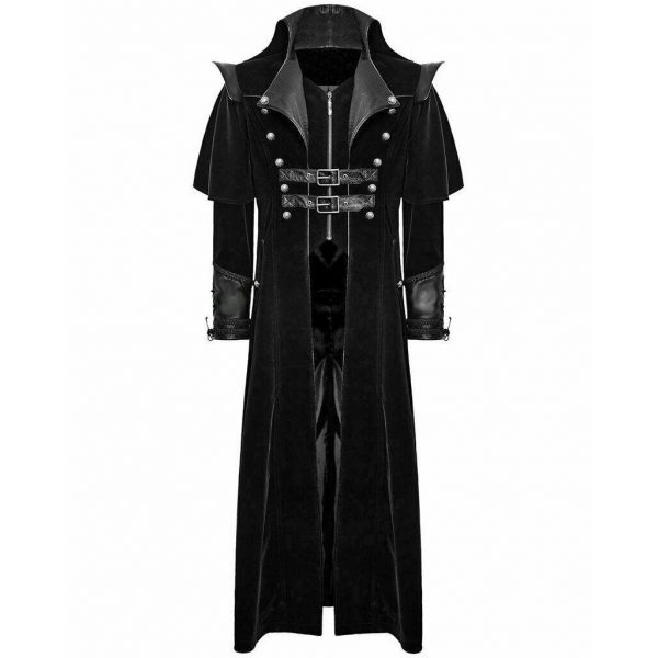 DARKROCK Gothic Steampunk Military Black Jacket Men's Punk Highwayman Regency Long Coat (1)