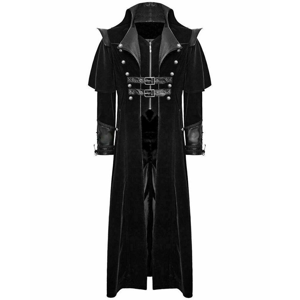 DARKROCK Gothic Steampunk Military Black Jacket Men's Punk Highwayman Regency Long Coat (1)