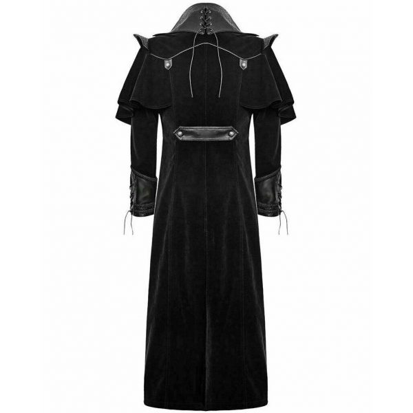 DARKROCK Gothic Steampunk Military Black Jacket Men's Punk Highwayman Regency Long Coat (2)