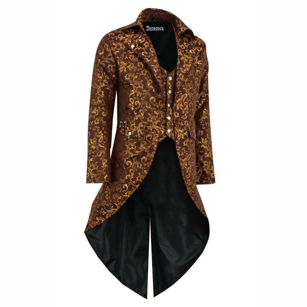 DARKROCK Handmade Men Tail coat Jacket Gold Brocade Goth (1)