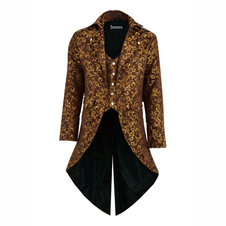 DARKROCK Handmade Men Tail coat Jacket Gold Brocade Goth (2)