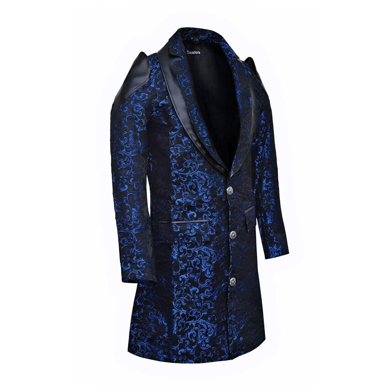 DARKROCK Men's Jacket Coat Blue Damask Gothic Steampunk VTG Aristocrat faux leather (1)