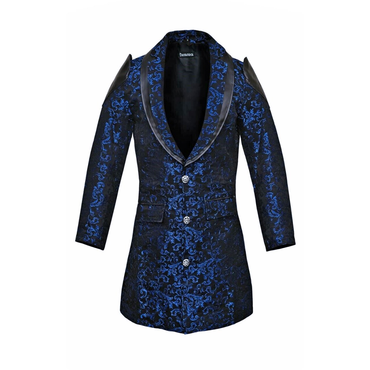 DARKROCK Men's Jacket Coat Blue Damask Gothic Steampunk VTG Aristocrat faux leather (2)