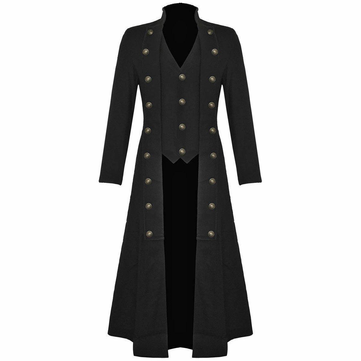 DARKROCK Men's Steampunk Military TRENCH COAT Long Jacket Black (1)