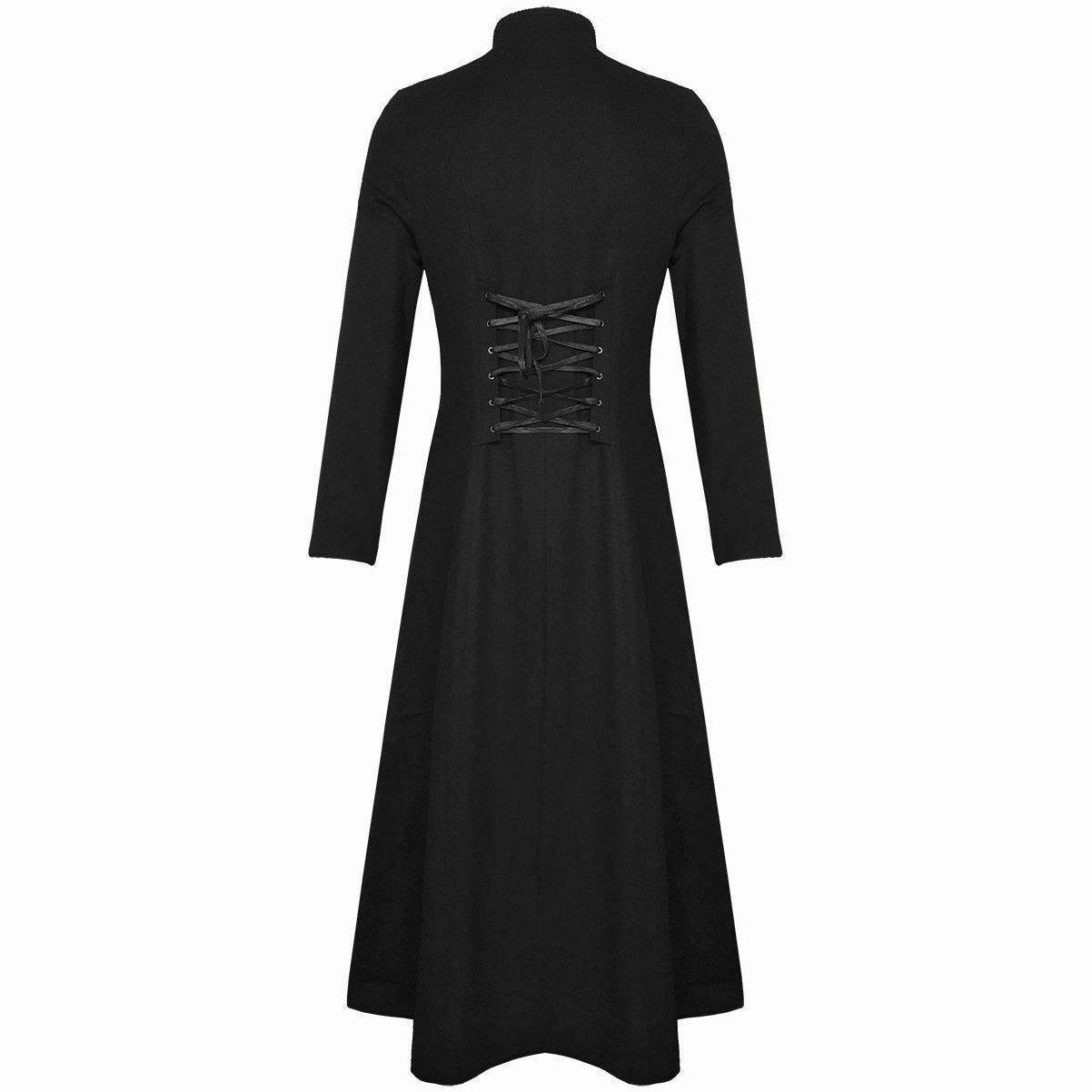 DARKROCK Men's Steampunk Military TRENCH COAT Long Jacket Black (2)