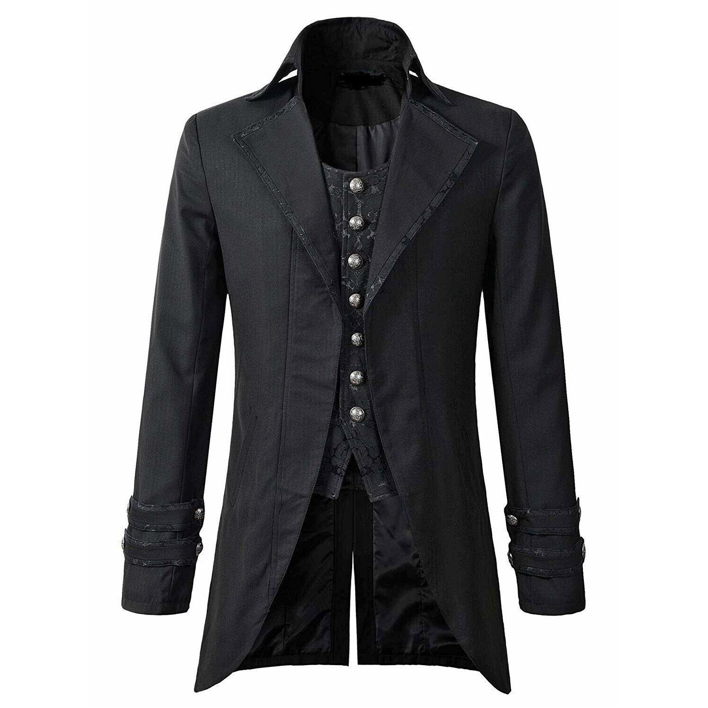 Darkrock Men's Morning Gothic Jacket Tailcoat Black Brocade Steampunk Victorian (1)