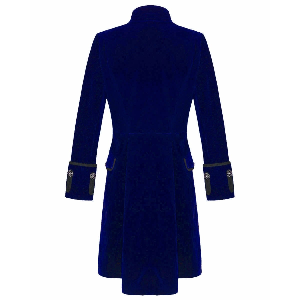 Darkrock Men's Velvet Renaissance Blue Handmade Frock Coat (1)