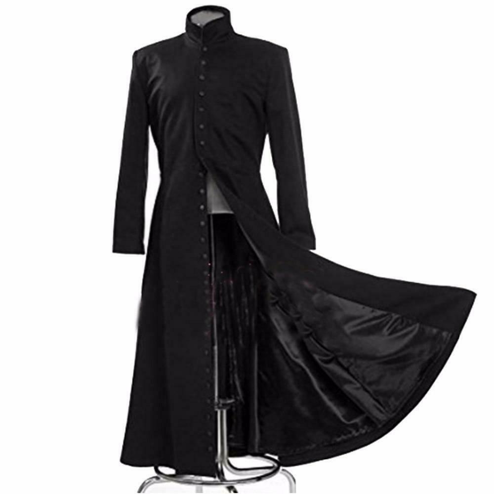 Darkrock Neo Matrix Heavy Duty Cotton Keanu Reeves Black Gothic Cosplay Trench Coat (1)