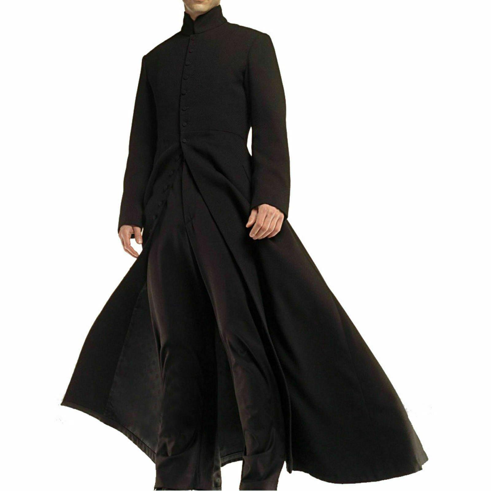 Darkrock Neo Matrix Heavy Duty Cotton Keanu Reeves Black Gothic Cosplay Trench Coat (2)