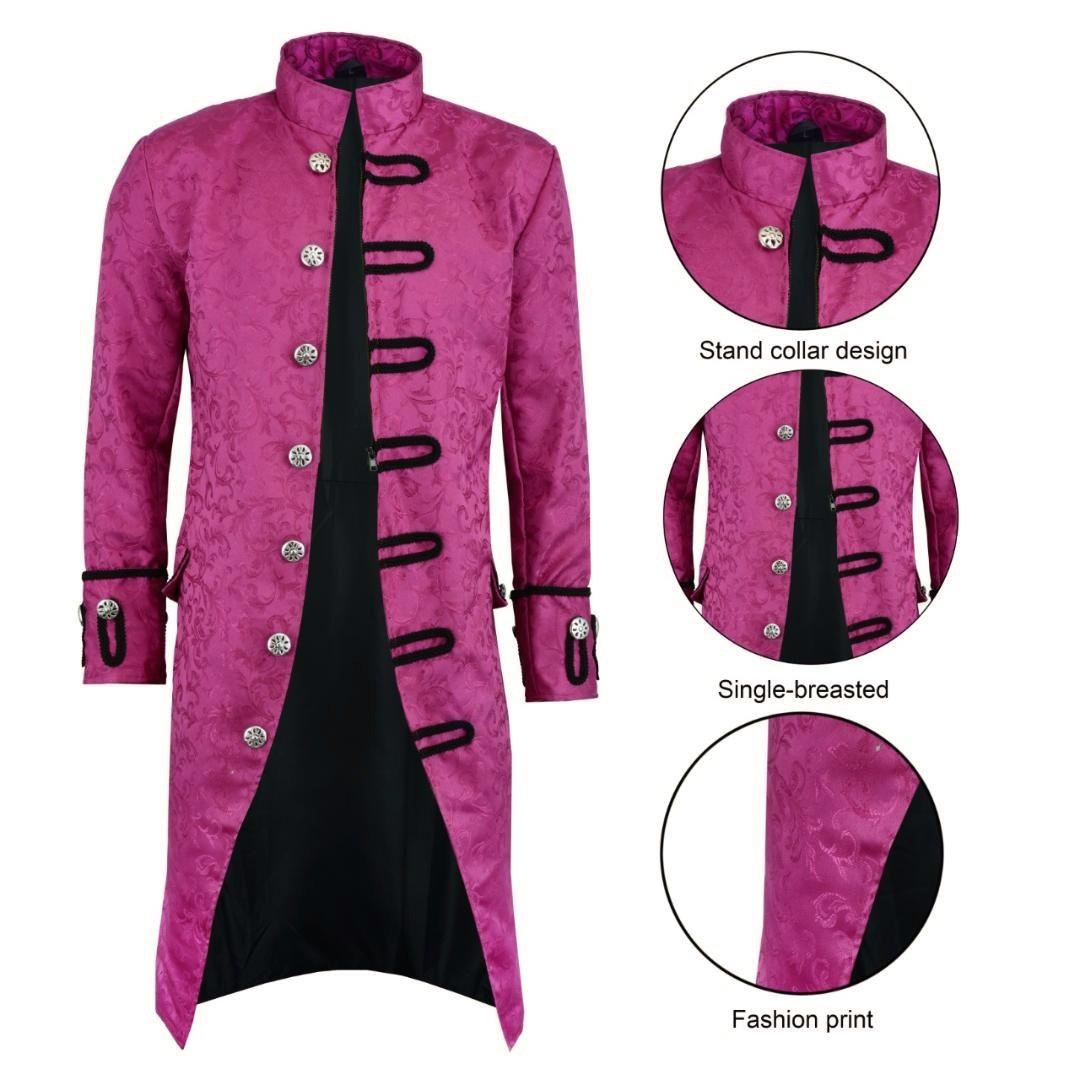 Renaissance Men's Purple Brocade Goth Steampunk Victorian Frock CoatUSA (1)