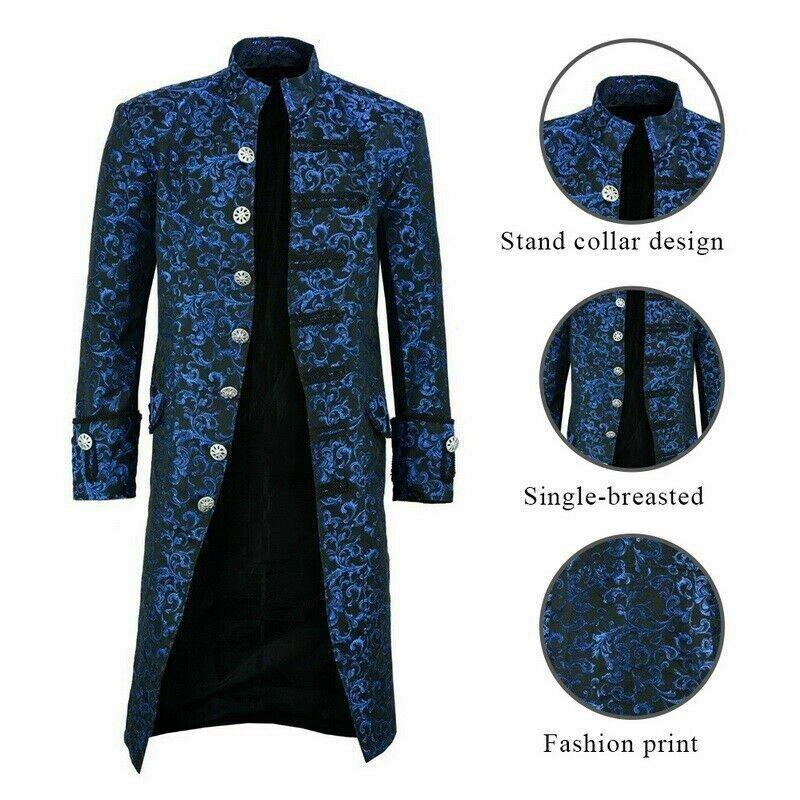dark rock Renaissance Men's Blue Brocade Goth Steampunk Victorian Velvet Frock Coat (3)