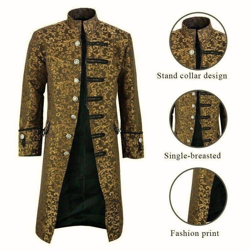dark rock Renaissance Men's Gold Brocade Goth Steampunk Victorian Velvet Frock Coat (1)