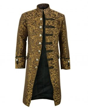 MIlitary Goth//Steampunk Victorian Black Trench Coat Jacket Gold//Silver Buttons