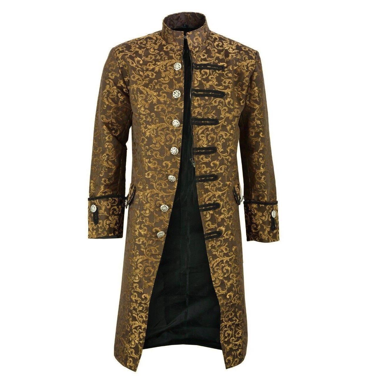 dark rock Renaissance Men's Gold Brocade Goth Steampunk Victorian Velvet Frock Coat (2)