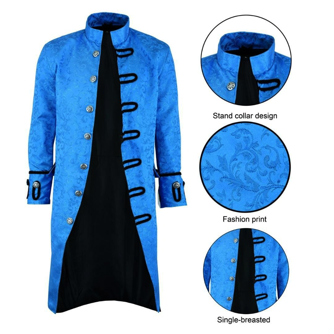 dark rock Renaissance Mens Royal Blue Brocade Goth Steampunk Victorian Velvet Frock Coat (1)