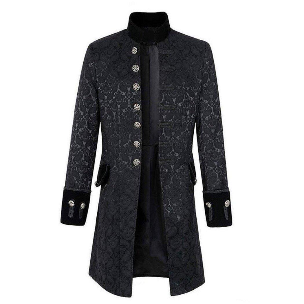 dark rock Gothic clothing Handmade Renaissance Men's Velvet Goth Steampunk Victorian Frock Coat -F
