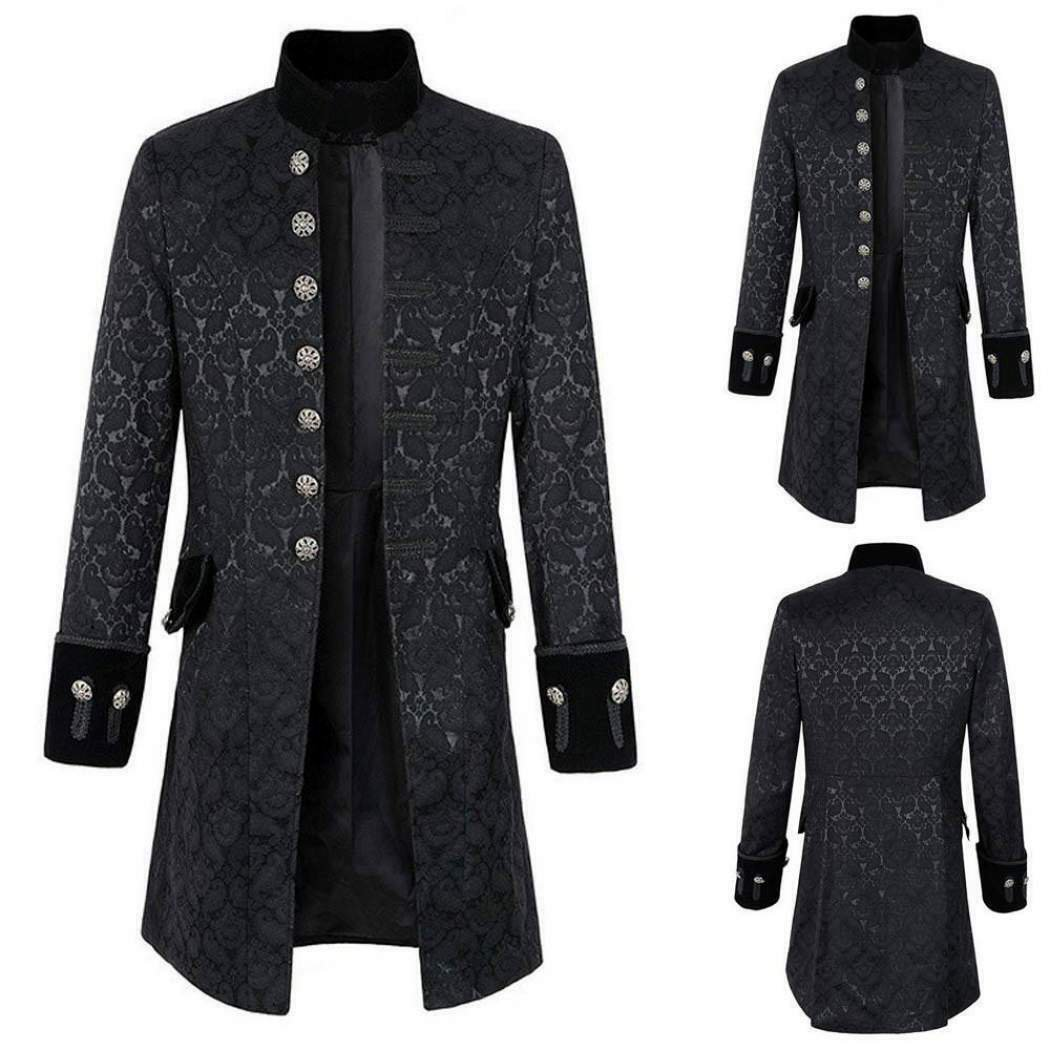 dark rock gothic clothing Handmade Renaissance Men's Velvet Goth Steampunk Victorian Frock Coat