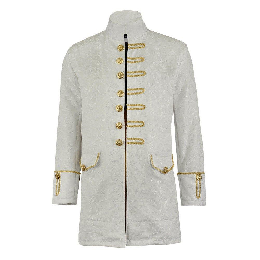 Renaissance Mens Velvet Goth Steampunk Victorian Frock Coat Brocade