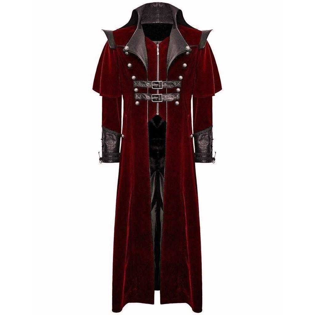 darkrock Gothic Steampunk Military Red Jacket Men's Punk Highwayman Regency Long Coat (1)