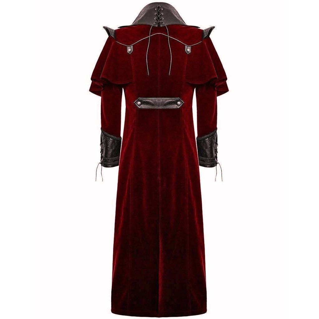 darkrock Gothic Steampunk Military Red Jacket Men's Punk Highwayman Regency Long Coat (2)