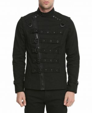 Goth Punk Bullet Bondage Psycho Band Heavy Metal Jacket Coat (1)