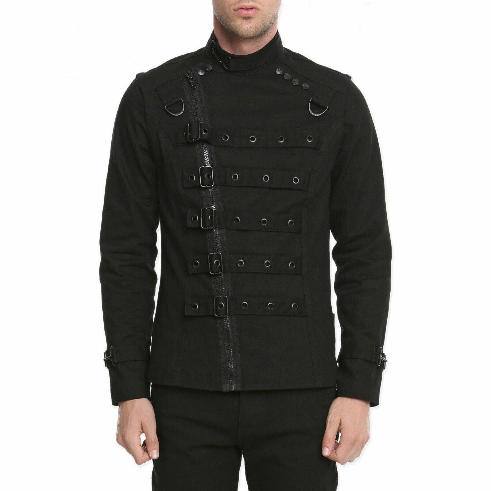 Goth Punk Bullet Bondage Psycho Band Heavy Metal Jacket Coat (1)