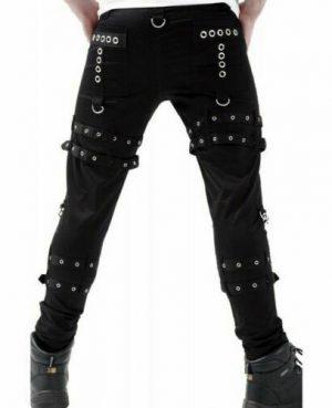 Gothic BONDAGE ROCK Black Punk Buckle Zips Chain Strap Trousers (3)