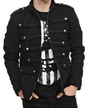 Gothic Military Band Black Jacket for Men Vintage Goth Coat Jacket STEAMPUNK (1)