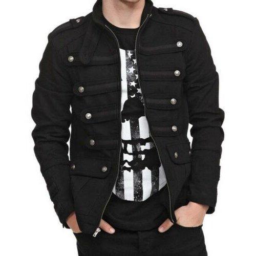 Gothic Military Band Black Jacket for Men Vintage Goth Coat Jacket STEAMPUNK (1)